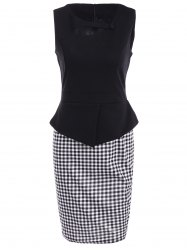 Sleeveless Cut Out Bodycon Dress - CHECKED 3XL
