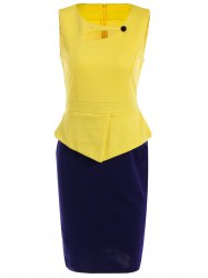 Sleeveless Cut Out Bodycon Dress - DEEP BLUE