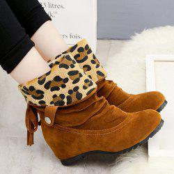 Fold Over Increased Internal Leopard Suede Ankle Boots -