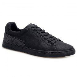 Lace-Up Color Block Casual Shoes - BLACK