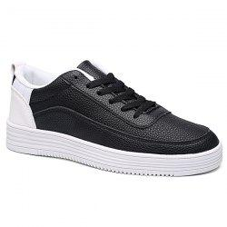 PU Leather Breathable Lace Up Casual Shoes - WHITE AND BLACK