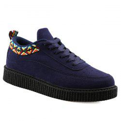 Lace Up Geometric Pattern Suede Casual Shoes