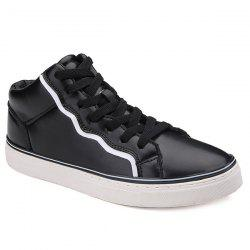 Colour Spliced Faux Leather Casual Shoes - BLACK