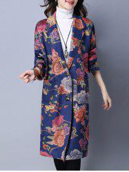 Pocket Design Floral Suede Coat