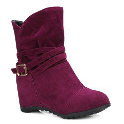 Pull On Wedge Wedge Boots - CLARET VIOLET