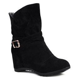 Pull On Wedge Wedge Boots - BLACK