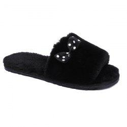 Bow ouvert Toe Furry Fleece Peluche Chaussons - Noir