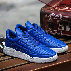 PU Leather Plaid Pattern Lace Up Casual Shoes - BLUE