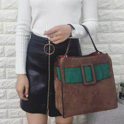 Color Spliced Magnetic Closure Buckle Tote Bag -