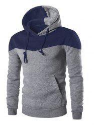 IZZUMI Classic Color Block Front Pocket Hooded Long Sleeves Hoodie For Men - GRAY 2XL