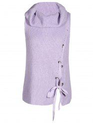 Turtleneck Grommet Lace Up Sleeveless Sweater