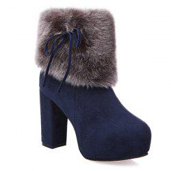 Chunky Heel Platform Faux Fur Suede Ankle Boots - CADETBLUE 39