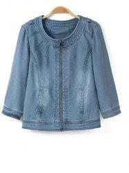Three Quarter Sleeve Casual Denim Jeans Jacket