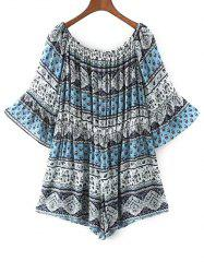 Off The Shoulder Boho Paisley Print Romper