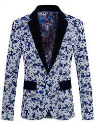 Floral Pattern One-Button Lapel Long Sleeve Blazer For Men - GRAY