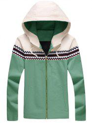 Plus Size Color Block Jacquard Splicing Hooded Zip-Up Jacket