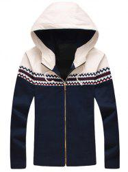 Plus Size Color Block Jacquard Splicing Hooded Zip-Up Jacket - CADETBLUE