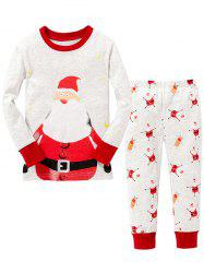 Christmas Pants Santa Claus Printed Long Sleeves Pajamas Twinset Pyjamas Sets - WHITE