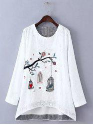 Plus Size Embroidered High Low Blouse - WHITE 4XL