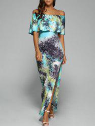 Off The Shoulder Maxi Bodycon Dress with Slit