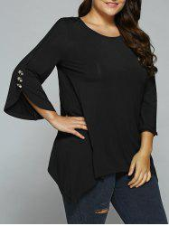 Button Embellished Sleeve Asymmetrical Blouse - BLACK