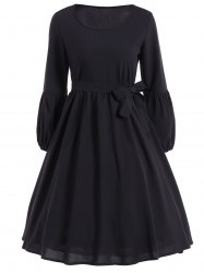 Ruffled Puff Sleeve Flare Dress