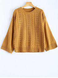 Hollow Out Round Neck Pullover Sweater -