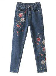 Straight Leg Embroidered Jeans - BLUE