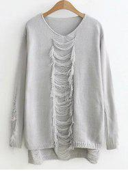 High-Low Ripped Sweater -