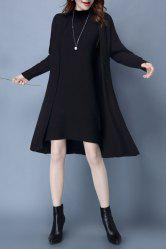 Mock Neck Ribbed Knitted Dress and Longline Cardigan - BLACK