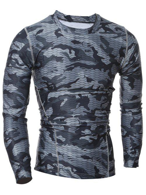 Quick Dry Round Neck Gym Camo T-ShirtMEN<br><br>Size: M; Color: GRAY; Material: Polyester; Pattern Type: Others; Weight: 0.2040kg; Package Contents: 1 x T-Shirt;