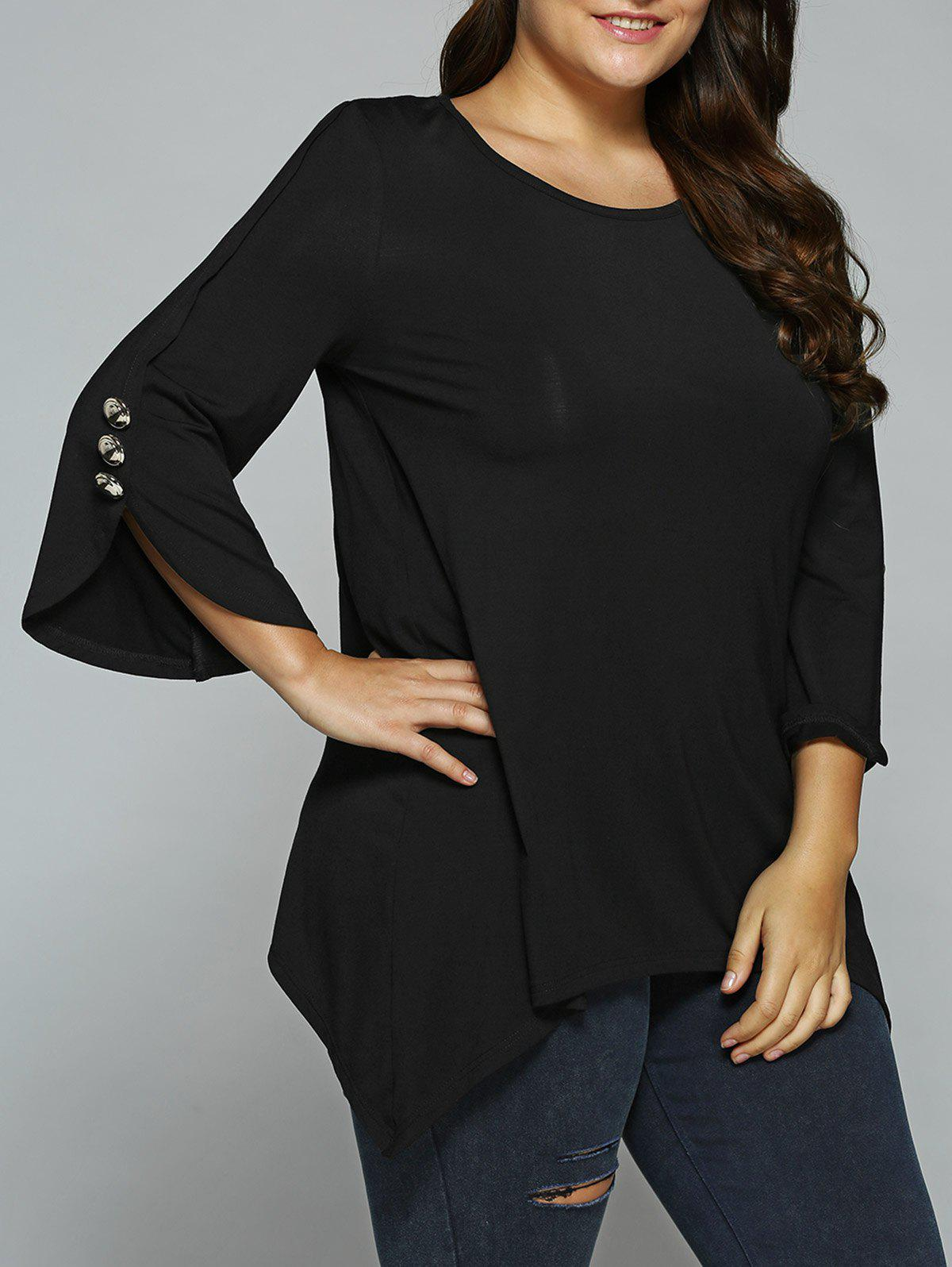 Button Embellished Sleeve Asymmetrical BlouseWOMEN<br><br>Size: 3XL; Color: BLACK; Material: Rayon,Spandex; Shirt Length: Regular; Sleeve Length: Three Quarter; Collar: Scoop Neck; Style: Casual; Season: Fall,Spring,Summer; Pattern Type: Solid; Weight: 0.360kg; Package Contents: 1 x Blouse;
