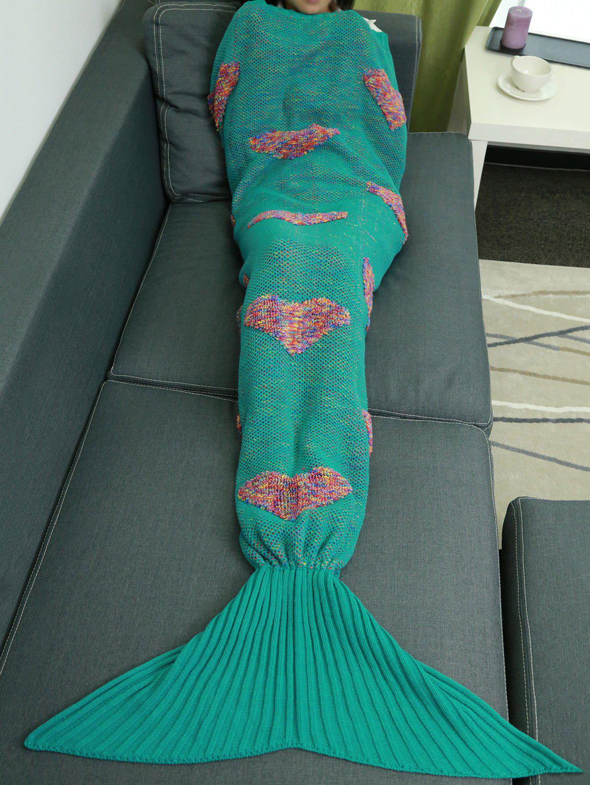 Outfits Colorful Peach Heart Crochet Knitting Fish Scales Design Mermaid Tail Style Blanket
