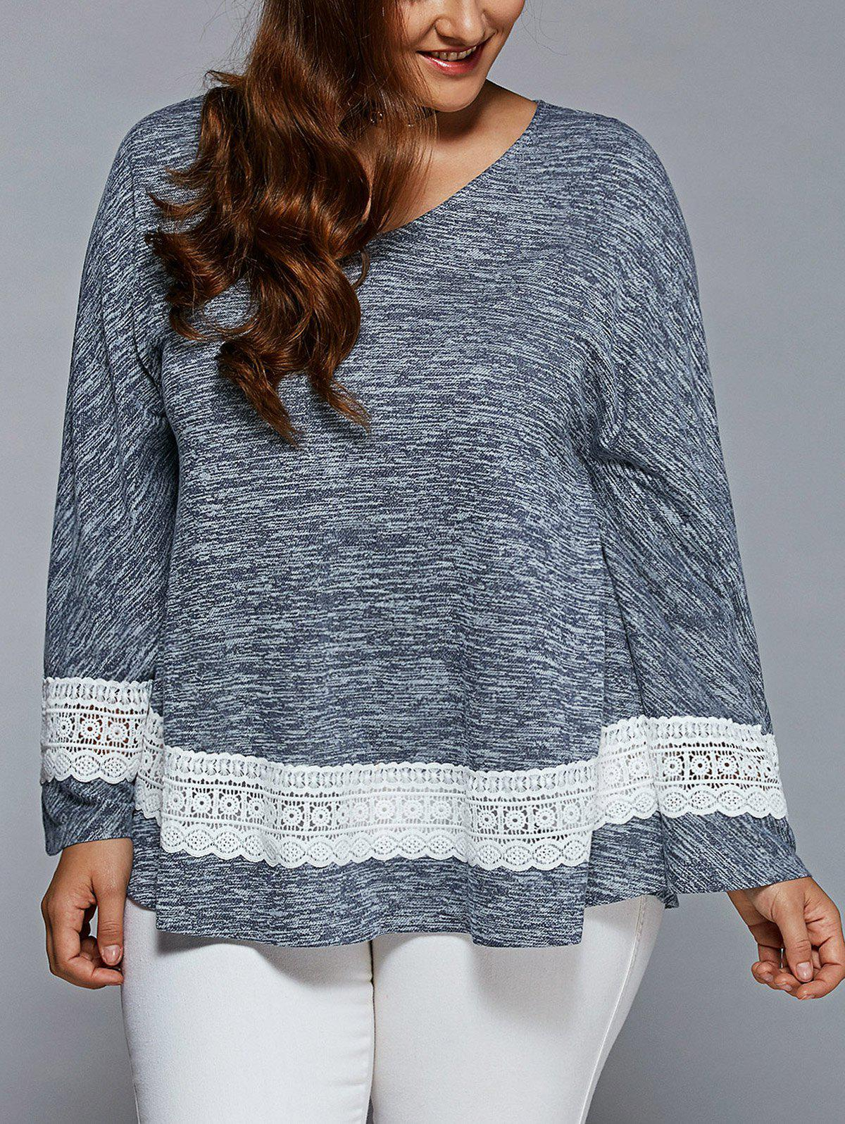 Plus Size Lace Insert Flare manches Blouse