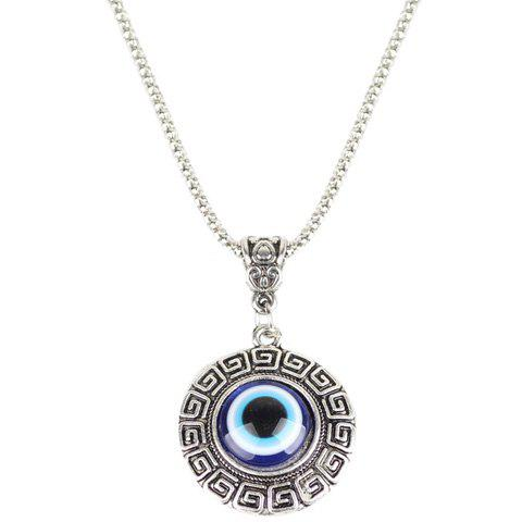Eye Fret Round Pendant NecklaceJEWELRY<br><br>Color: BLUE; Item Type: Pendant Necklace; Gender: For Women; Necklace Type: Link Chain; Material: Resin; Metal Type: Alloy; Style: Trendy; Shape/Pattern: Round; Weight: 0.020kg; Package Contents: 1 x Necklace;