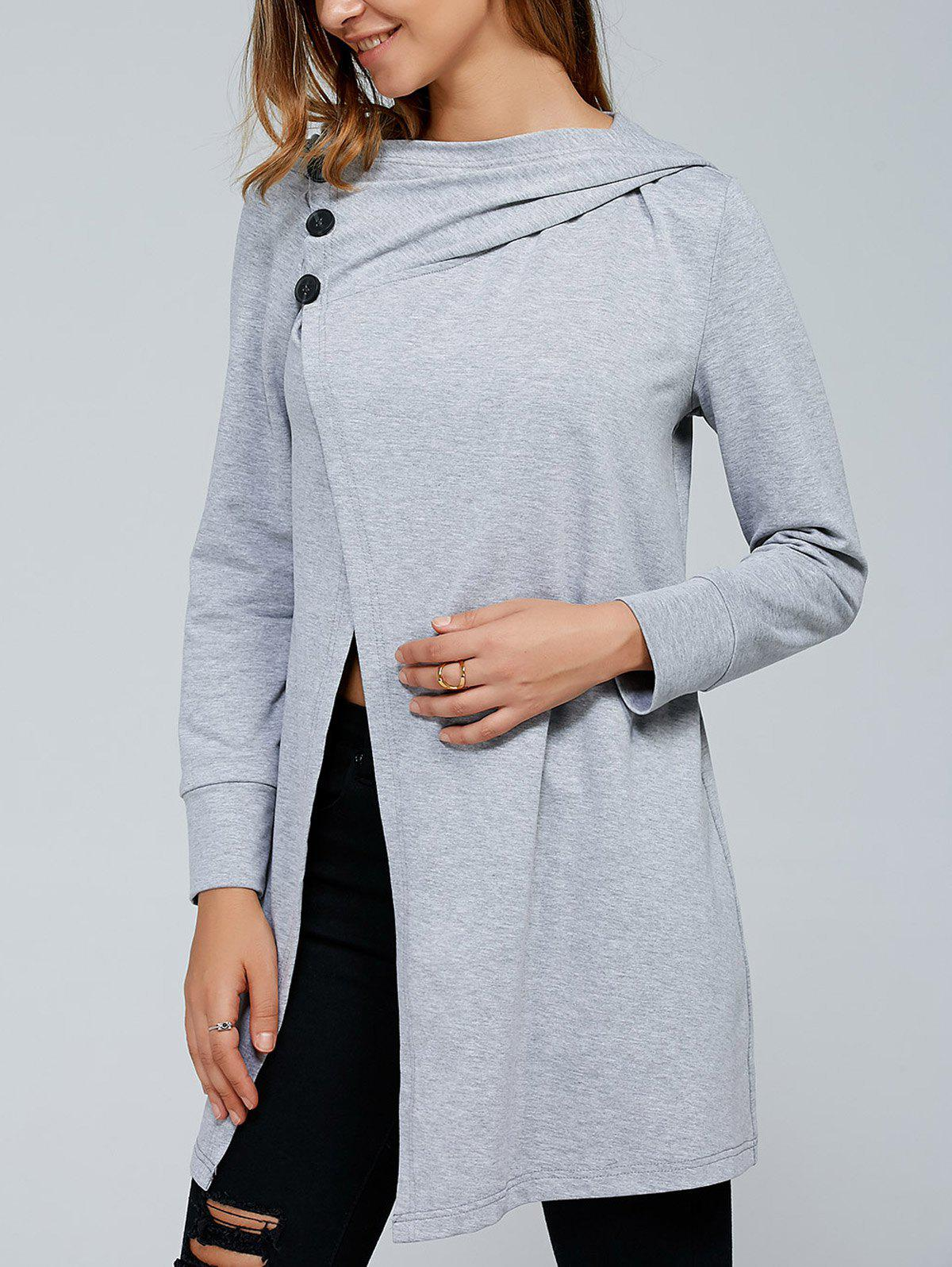 Store Inclined Button Front Slit Hoodie