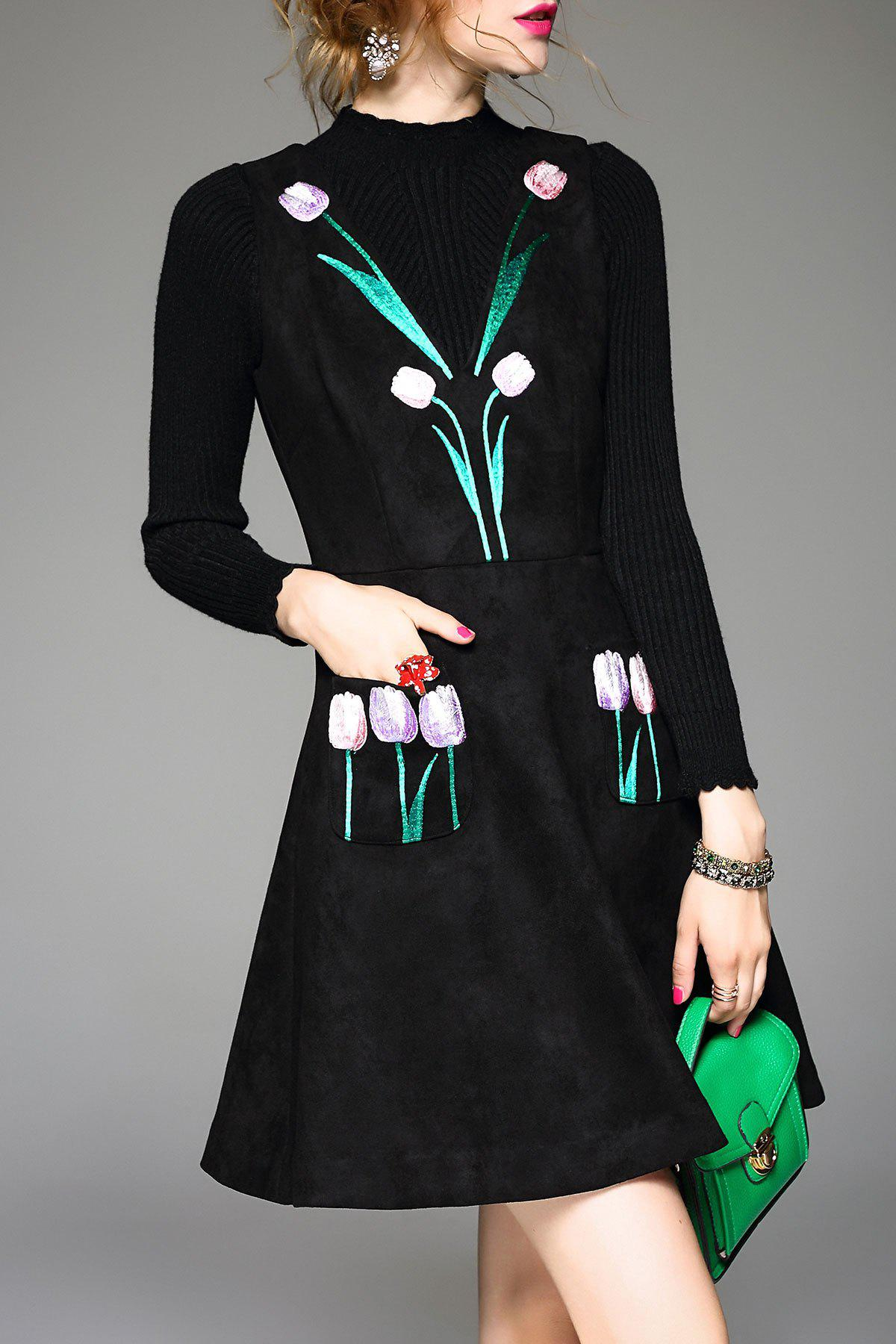 Sale Flower Embroidered Suede Dress