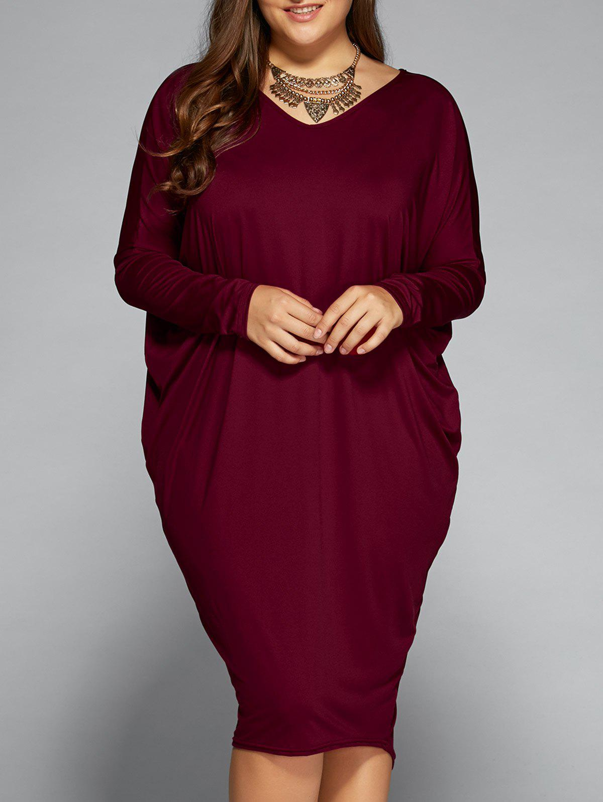 Loose Hollow Out Asymmetric DressWOMEN<br><br>Size: ONE SIZE; Color: WINE RED; Style: Brief; Material: Polyester; Silhouette: Straight; Dresses Length: Knee-Length; Neckline: V-Neck; Sleeve Length: Long Sleeves; Embellishment: Hollow Out; Pattern Type: Solid; With Belt: No; Season: Fall,Spring; Weight: 0.320kg; Package Contents: 1 x Dress;
