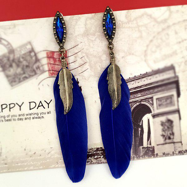 Hot Feather Leaf Faux Gem Earrings