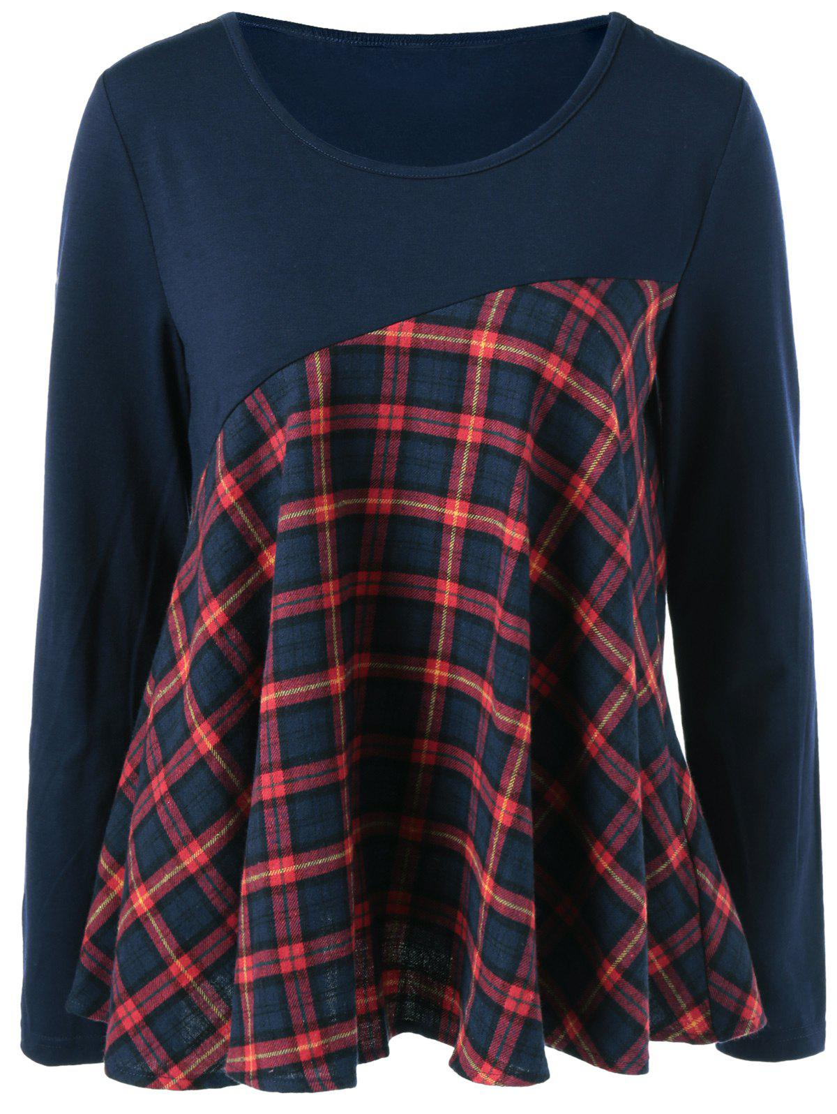Plaid Trim Elbow Patch BlouseWOMEN<br><br>Size: M; Color: BLUE AND RED; Style: Casual; Material: Cotton Blends,Spandex; Shirt Length: Regular; Sleeve Length: Full; Collar: Scoop Neck; Pattern Type: Plaid; Season: Fall,Spring,Summer; Weight: 0.390kg; Package Contents: 1 x Blouse;