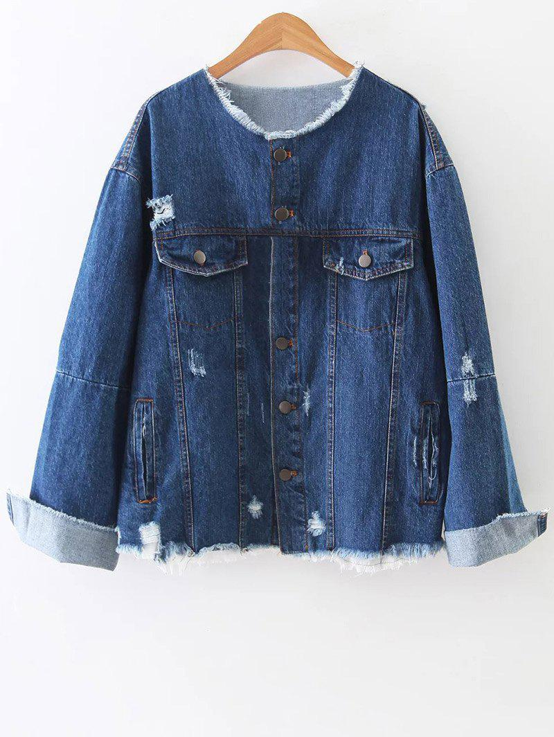 Buy Raw Edge Patched Back Denim Jacket