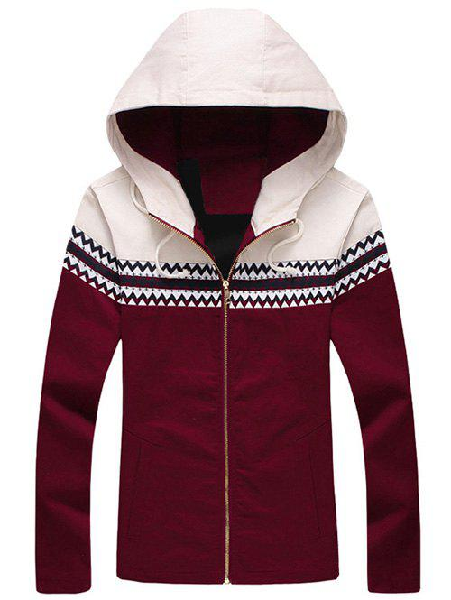 Unique Plus Size Color Block Jacquard Splicing Hooded Zip-Up Jacket