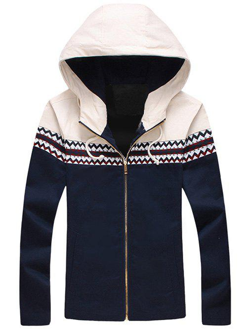 Store Plus Size Color Block Jacquard Splicing Hooded Zip-Up Jacket