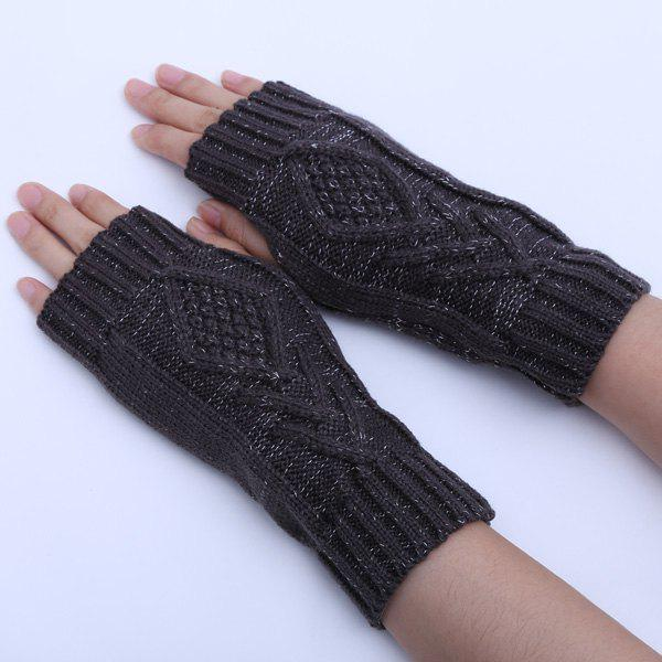 1 Pair Warm Rhombus Line Crochet Fingerless GlovesACCESSORIES<br><br>Color: DEEP GRAY; Group: Adult; Gender: For Women; Style: Fashion; Glove Length: Wrist; Pattern Type: Geometric; Material: Acrylic; Weight: 0.053kg; Package Contents: 1 x Gloves(Pair);