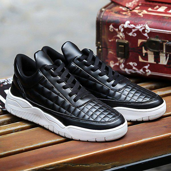 Shop PU Leather Plaid Pattern Lace Up Casual Shoes