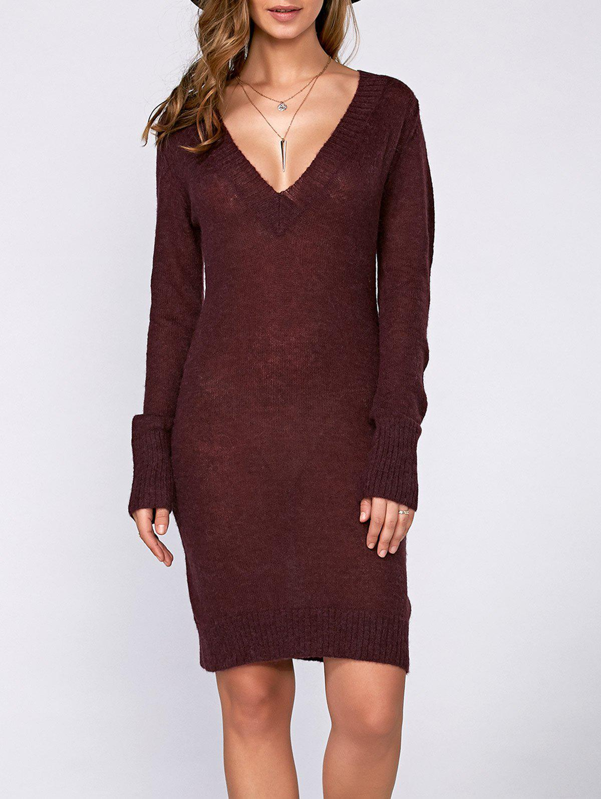 Buy Long Sleeve Textured Fuzzy Knit Dress