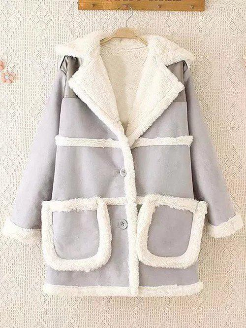 Chic Fleece Trim Spliced Chamois Coat