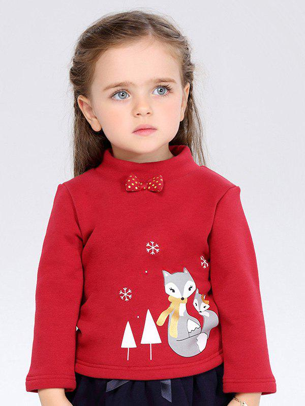 Online Thicken High Neck Bowknot Cartoon Printed Long Sleeve T Shirt