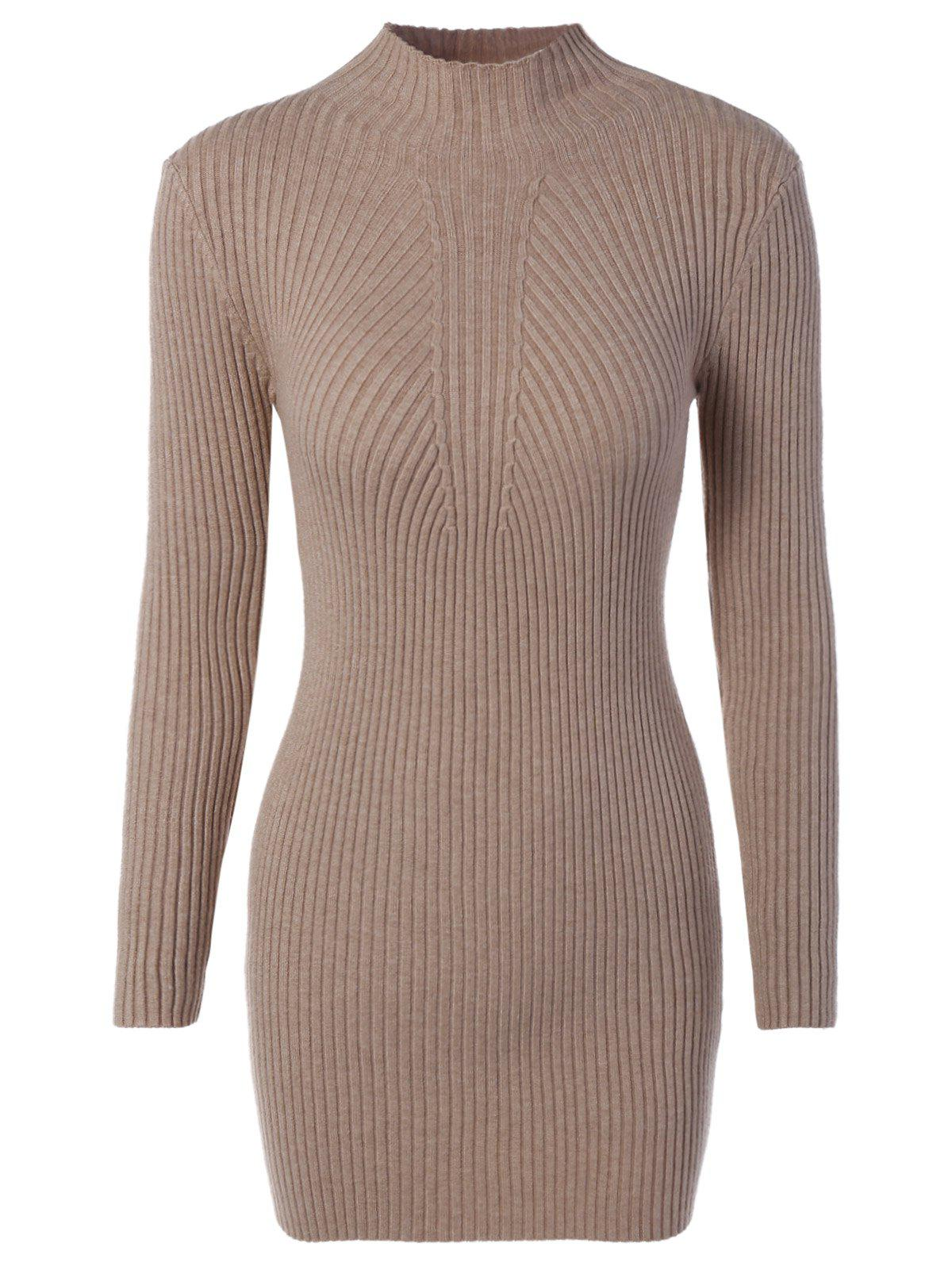 Chic High Neck Bodycon Sweater Dress