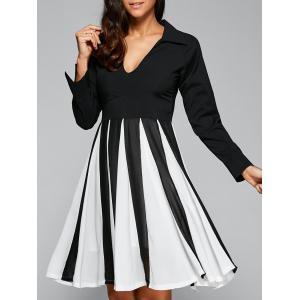 V Neck Patchwork Skater Dress with Sleeves